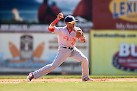 Hagerstown Suns second baseman Willie Medina (17) throws to first during a game against the Lexington Legends on May 19, 2014 at Whitaker Bank Ballpark in Lexington, Kentucky.  Lexington defeated Hagerstown 10-8.  (Mike Janes/Four Seam Images)