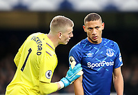 23rd  November 2019; Goodison Park , Liverpool, Merseyside, England; English Premier League Football, Everton versus Norwich City; Everton goalkeeper Jordan Pickford speaks with Richarlison of Everton  as they prepare to defend a corner kick - Strictly Editorial Use Only. No use with unauthorized audio, video, data, fixture lists, club/league logos or 'live' services. Online in-match use limited to 120 images, no video emulation. No use in betting, games or single club/league/player publications