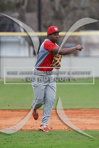 T'Moriyon Paul (9) of Jasper, Florida during the Baseball Factory All-America Pre-Season Rookie Tournament, powered by Under Armour, on January 13, 2018 at Lake Myrtle Sports Complex in Auburndale, Florida.  (Michael Johnson/Four Seam Images)