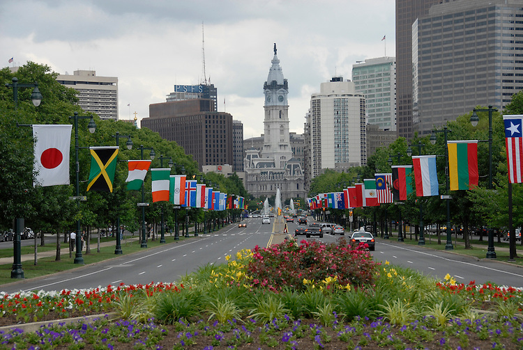 City display of foreign flags..Philadelphia, Pennsylvania, PA USA.  Photo copyright Lee Foster, 510-549-2202, lee@fostertravel.com, www.fostertravel.com. Photo 334-30885