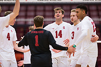 STANFORD, CA - January 5, 2019: Kyler Presho, Kyle Dagostino, Paul Bischoff, Jaylen Jasper, Eric Beatty at Maples Pavilion. The Stanford Cardinal defeated UC Santa Cruz 25-11, 25-17, 25-15.