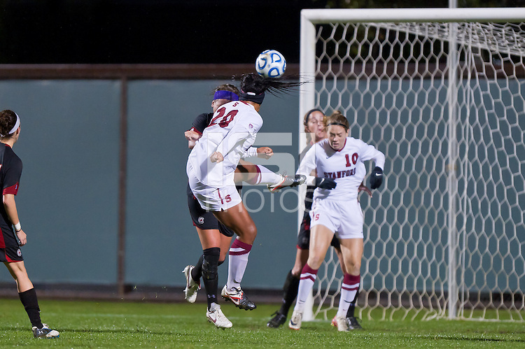 STANFORD, CA - NOVEMBER 18: Mariah Nogueira scores the first goal as Stanford defeats South Carolina 2-0 in the second round of the NCAA women's soccer tournament in Stanford, California.