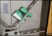 BNPS.co.uk (01202 558833)<br /> Pic: PhilYeomans/BNPS<br /> <br /> Sick bags were a very necessary addition to the capsule.<br /> <br /> Sci-fi 'Centrifuge' to open its doors to the public after 64 years...<br /> <br /> A remarkable Cold War relic which has put thousands of pilots through their G-force paces has made its final spin after six decades. <br /> <br /> The Top Secret building at the former RAE Farnborough test site is now open to the public for guided tours led by the scientists from FAST who used to work there.<br /> <br /> The Farnborough Centrifuge was used to simulate huge 9G forces - nine times more than a human body is designed to absorb - they would encounter while flying fast jets during combat operations.<br /> <br /> The pilot would sit in a small compartment replicating a cockpit at the end of the 60ft rotating arm and be propelled at over 60mph, spinning 30 times a minute.<br /> <br /> A staggering 122,133 tests were performed on it before it was decommissioned in March this year, with a new centrifuge installed at RAF Cranwell.<br /> <br /> It featured on an episode of Top Gear in 2000 when Jeremy Clarkson had a go on it at 3G, leaving him in obvious discomfort. He described the force exerted on him as like 'having an elephant sat on my chest'.<br /> <br /> The centrifuge, which is being displayed for the public for the first time, also appeared in the 1985 comedy film Spies Like Us starring Chevy Chase and Dan Ackroyd.