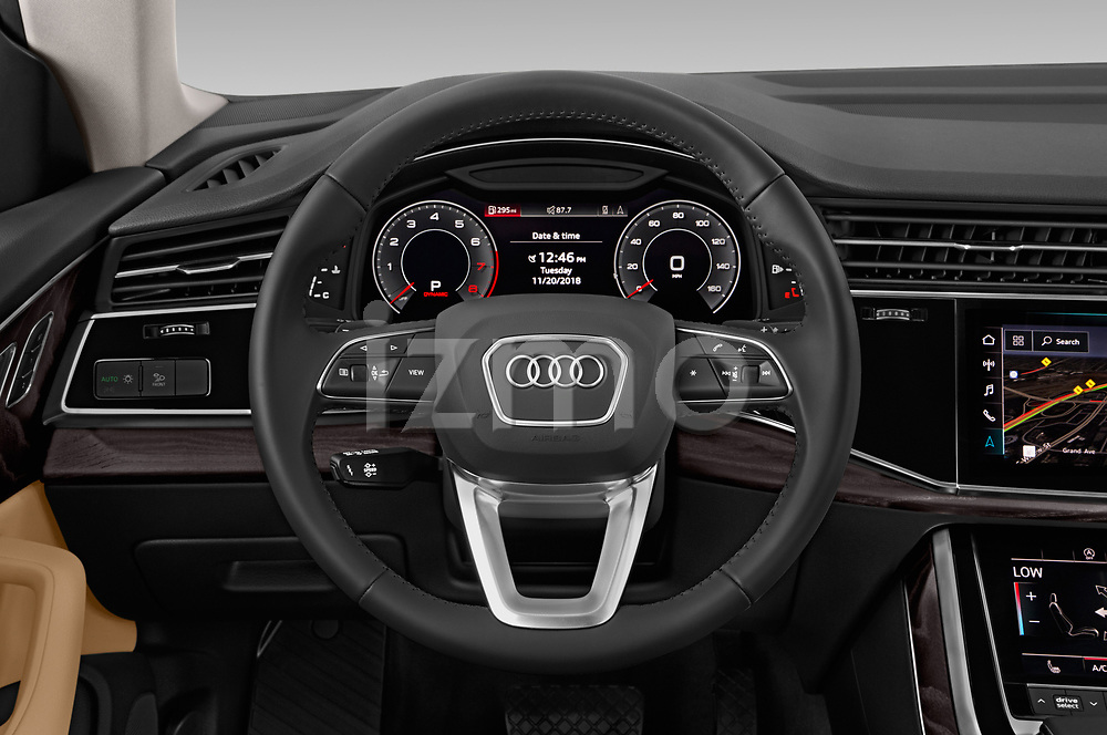 Car pictures of steering wheel view of a 2019 Audi q8 Premium Plus 5 Door SUV
