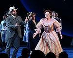 Alexander Gemignani, Renee Fleming and Lindsay Mendez  during the Opening Night Curtain Call for 'Carousel' at the Imperial Theatre on April 12, 2018 in New York City.