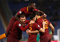 Calcio, Serie A: Roma vs Fiorentina. Roma, stadio Olimpico, 7 febbraio 2017.<br /> Roma's Federico Fazio, right, celebrates with teammates , from left, Edin Dzeko, Antonio Ruediger and Stephan El Shaarawy, after scoring during the Italian Serie A soccer match between Roma and Fiorentina at Rome's Olympic stadium, 7 February 2017.<br /> UPDATE IMAGES PRESS/Riccardo De Luca
