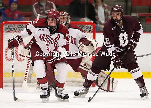 Dan Ford (Harvard - 5), Kyle Baun (Colgate - 12) - The Harvard University Crimson defeated the Colgate University Raiders 4-1 (EN) on Friday, February 15, 2013, at the Bright Hockey Center in Cambridge, Massachusetts.