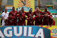 NEIVA-COLOMBIA-04-08-2018: Los jugadores de Rionegro Águilas Doradas, posan para una foto durante partido entre Atlético Huila y Rionegro Águilas Doradas, de la fecha 3 por la Liga Águila II 2018  en el estadio Guillermo Plazas Alcid de Neiva. / The players of Rionegro Águilas Doradas, pose for a photo during a match between Atletico Huila y Rionegro Aguilas Doradas, of the 3rd date for the Liga Aguila II 2018 at the Guillermo Plazas Alcid Stadium in Neiva city. Photo: VizzorImage  / Sergio Reyes / Cont.