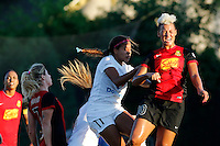 Rochester, NY - Saturday July 23, 2016: Western New York Flash midfielder Lianne Sanderson (10), FC Kansas City midfielder Frances Silva (11) during a regular season National Women's Soccer League (NWSL) match between the Western New York Flash and FC Kansas City at Rochester Rhinos Stadium.