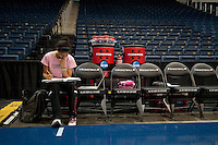 NORFOLK, VA--Team manager Natahsa von Kaeppler takes a break in the action to work on her studies during an off-day practice session at the Ted Constant Convocation Center at Old Dominion University in Norfolk, VA in the 2012 NCAA Championships. The Cardinal will play West Virginia on Monday, March 19 to qualify for the West Regionals in Fresno.