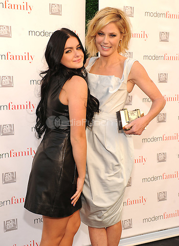 "LOS ANGELES, CA - MAY 18: Ariel Winter and Julie Bowen arrive as ""Modern Family"" cast and producers treated TV Academy members to an advance screening of the season finale ""American Skyper,"" followed by a Q&A at the Zanuck Theater and cocktail party on the Fox Lot on May 18, 2015 in Los Angeles, California. Credit: PGFM/MediaPunch"