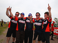 Apr 27, 2014; Baytown, TX, USA; NHRA pro mod driver Mike Janis celebrates with crew after winning the Spring Nationals at Royal Purple Raceway. Mandatory Credit: Mark J. Rebilas-