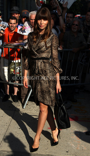 WWW.ACEPIXS.COM . . . . .  ....August 2 2012, New York City....Actress Jessica Biel made an appearance at the Jon Stewart Show on August 2 2012 in New York City....Please byline: Zelig Shaul - ACE PICTURES.... *** ***..Ace Pictures, Inc:  ..Philip Vaughan (212) 243-8787 or (646) 769 0430..e-mail: info@acepixs.com..web: http://www.acepixs.com