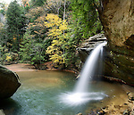 Waterfall In Autumn At Old Man's Cave, Hocking Hills Region, Ohio