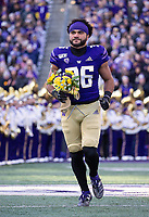 Senior Malik Braxton gets introduced before his final game in Husky Stadium.