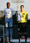 2 September 2007: North Carolina's Andre Sherard (20) and Tyler Deric (24). The University of North Carolina Tar Heels tied the Old Dominion University Monarchs 1-1 at Fetzer Field in Chapel Hill, North Carolina in an NCAA Division I Men's Soccer game.