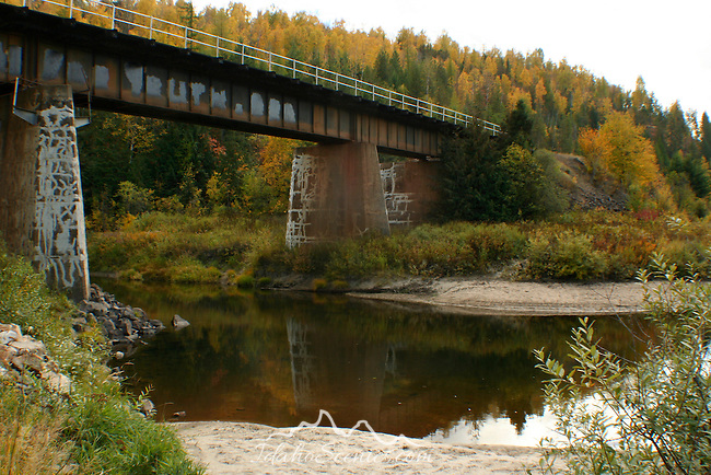 Train Bridge over the Pack River in Bonner County in Autumn