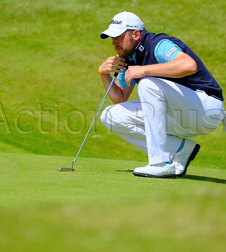 July 8th 2017, Portstewart Golf Club, Portstewart, Northern Ireland; Dubai Duty Free Irish Open Golf Championship, Day 3; Matthew Southgate lines up his putt on the 3rd during the third round of the Dubai Duty Free Irish Open