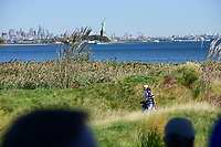 Rickie Fowler (USA) and Charl Schwartzel (RSA) make their way down 10 with the Statue of Liberty in the distance during round 1 foursomes of the 2017 President's Cup, Liberty National Golf Club, Jersey City, New Jersey, USA. 9/28/2017.<br /> Picture: Golffile | Ken Murray<br /> ll photo usage must carry mandatory copyright credit (&copy; Golffile | Ken Murray)