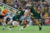 England's Jonny Lomax is tackled by Australia's Michael Morgan, left, and Wade Graham, right, during the Rugby League World Cup final between Australia and England, Suncorp Stadium, Brisbane, Australia, 2 December 2017. Copyright Image: Tertius Pickard / www.photosport.nz MANDATORY CREDIT/BYLINE : SWpix.com/PhotosportNZ
