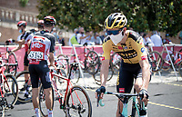 Would you recognise the eventual race winner here at the start?<br /> > having finished 3rd twice in his 2 previous attemps, Wout Van Aert (BEL/Jumbo-Visma) is again a race favourite in his 3rd go at this epic race <br /> <br /> 14th Strade Bianche 2020<br /> Siena > Siena: 184km (ITALY)<br /> <br /> delayed 2020 (summer!) edition because of the Covid19 pandemic > 1st post-Covid19 World Tour race after all races worldwide were cancelled in march 2020 by the UCI