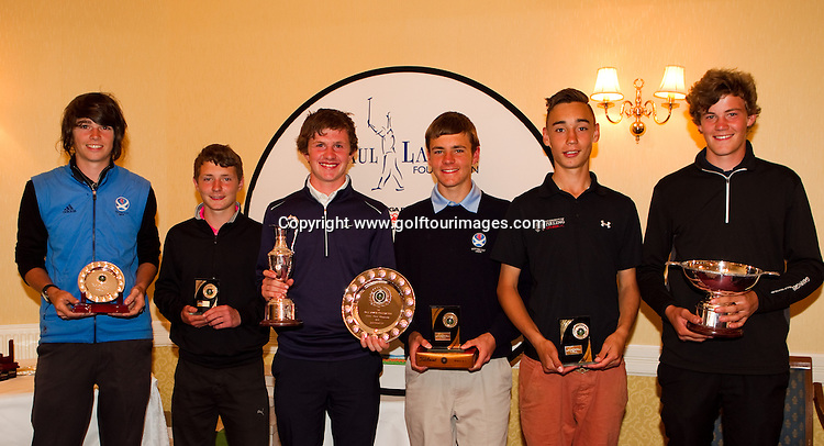 Trophy winners from The Paul Lawrie Foundation Scottish Schools Golf Championships played at Murrayshall House Hotel and Golf Courses on 10th June 2013: Picture Stuart Adams www.golftourimages.com: 10th June 2013