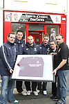 Manager JP O'Boyle, Kevin Hoey, Richard Dooley, Graham Reynolds and Chairman Keith Wallace of New Football Team, Drogheda Crescent with Ronan Mooney of Town Centre Barbers.  Missing from photo Club Captain Keith Collins...Picture Jenny Matthews/Newsfile.ie