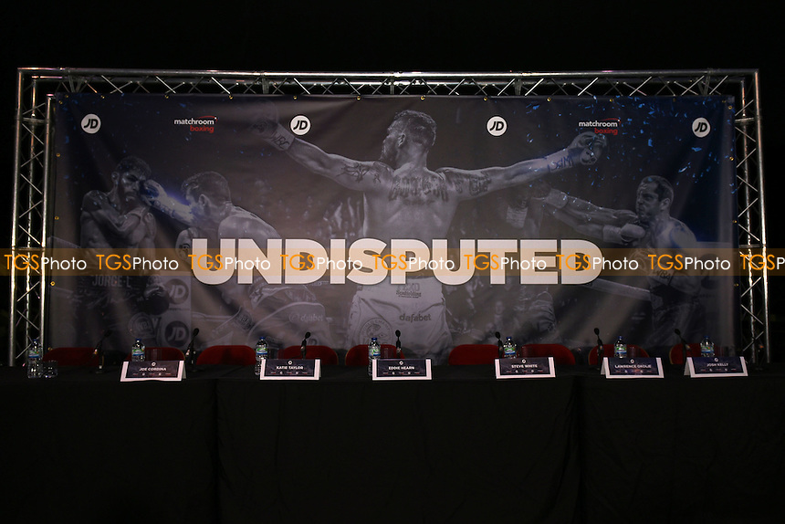 General view ahead of 'Undisputed' banner ahead of a Matchroom Boxing Press Conference at The O2 on 2nd March 2017