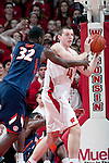 Illinois Fighting Illini forward Nnanna Egwu (32) defends against Wisconsin Badgers forward Jared Berggren (40) during a Big Ten Conference NCAA college basketball game on Sunday, March 4, 2012 in Madison, Wisconsin. The Badgers won 70-56. (Photo by David Stluka)