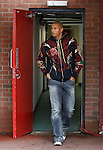 Daniel Cousin at East End Park as he arrives to sign for Rangers and feels the cold air