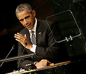 United States President Barack Obama delivers his address during the United Nations Sustainable Development Summit which is taking place for three days before the start of the 70th session General Debate of the United Nations General Assembly at United Nations headquarters in New York, New York, USA, 27 September 2015.<br /> Credit: Peter Foley / Pool via CNP