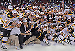 Members of the Boston Bruins celebrate winning the Stanley Cup over Vancouver Canucks at Rogers Arena on Wednesday, June 15, 2011.