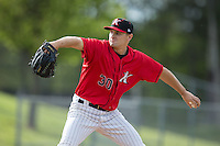 Kannapolis Intimidators starting pitcher Tanner Banks (30) in action against the Hickory Crawdads at Kannapolis Intimidators Stadium on April 10, 2016 in Kannapolis, North Carolina.  The Intimidators defeated the Crawdads 10-3.  (Brian Westerholt/Four Seam Images)