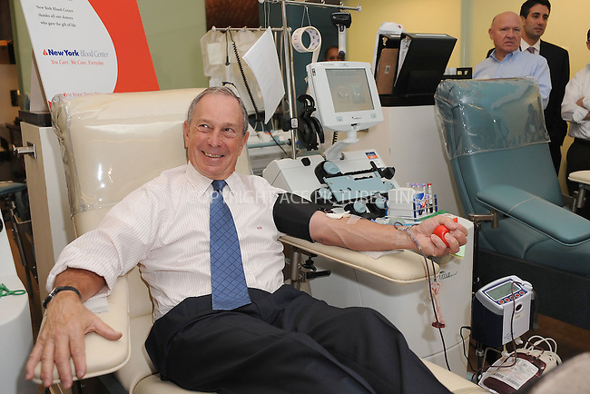 WWW.ACEPIXS.COM . . . . . .August 30, 2011...New York City...Mayor Michael Bloomberg donates blood on August 30, 2011 in New York City....Please byline: KRISTIN CALLAHAN - ACEPIXS.COM.. . . . . . ..Ace Pictures, Inc: ..tel: (212) 243 8787 or (646) 769 0430..e-mail: info@acepixs.com..web: http://www.acepixs.com .