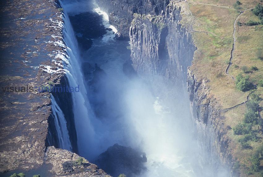 Aerial view of Victoria Falls, Zambezi River, Zimbabwe, Africa.