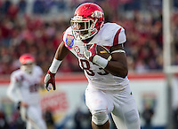 NWA Democrat-Gazette/JASON IVESTER <br /> Arkansas vs Kansas St, Liberty Bowl<br /> Arkansas tight end Jeremy Sprinkle (83) runs with the ball following a reception during the second quarter on Saturday, Jan. 2, 2016, at the Liberty Bowl in Memphis, Tenn.