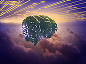 Brain above clouds w/ circuits