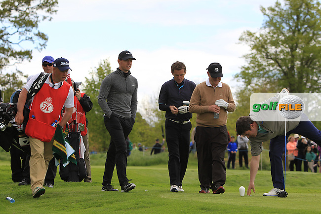 Rory McIlroy (NIR), AP McCoy (AM), JP McManus (AM) and Kieran McManus (AM) on the 5th during Wednesday's Pro-Am round of the Dubai Duty Free Irish Open presented  by the Rory Foundation at The K Club, Straffan, Co. Kildare<br /> Picture: Golffile | Thos Caffrey<br /> <br /> All photo usage must carry mandatory copyright credit <br /> (&copy; Golffile | Thos Caffrey)