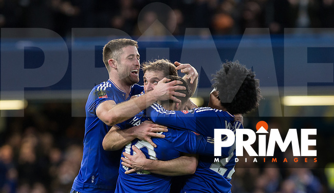 Celebrates as Eden Hazard of Chelsea scores during the FA Cup 5th round match between Chelsea and Manchester City at Stamford Bridge, London, England on 21 February 2016. Photo by Andy Rowland.