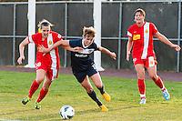 Western New York Flash defender Katherine Reynolds (16) and Sky Blue FC midfielder Sophie Schmidt (16). Sky Blue FC defeated the Western New York Flash 1-0 during a National Women's Soccer League (NWSL) match at Yurcak Field in Piscataway, NJ, on April 14, 2013.