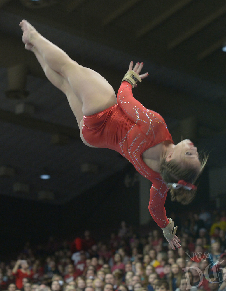 NWA Democrat-Gazette/ANDY SHUPE<br /> Arkansas' Sydney McGlone competes in the vault Saturday, Jan. 5, 2019, during the Razorbacks' meet with No. 2 Oklahoma in Barnhill Arena in Fayetteville. Visit nwadg.com/photos to see more photographs from the meet.