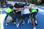 14 May 2016: Dartmouth's players huddle before the game. The Tulane University Green Wave played the Dartmouth College Big Green at the Cone-Kenfield Tennis Center in Chapel Hill, North Carolina in a 2015-16 NCAA Division I Men's Tennis Tournament First Round match. Tulane won the match 4-0.