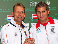 11-sept.-2013,Netherlands, Groningen,  Martini Plaza, Tennis, DavisCup Netherlands-Austria, Draw,   Captains Jan Siemerink (NED) and Clemens Trimmel (AUT)<br /> Photo: Henk Koster