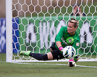 Ashlyn Harris (1) of the Washington Spirit saves a penalty kick during the game at the Maryland SoccerPlex in Boyds, Md.   Chicago defeated Washington, 2-0.