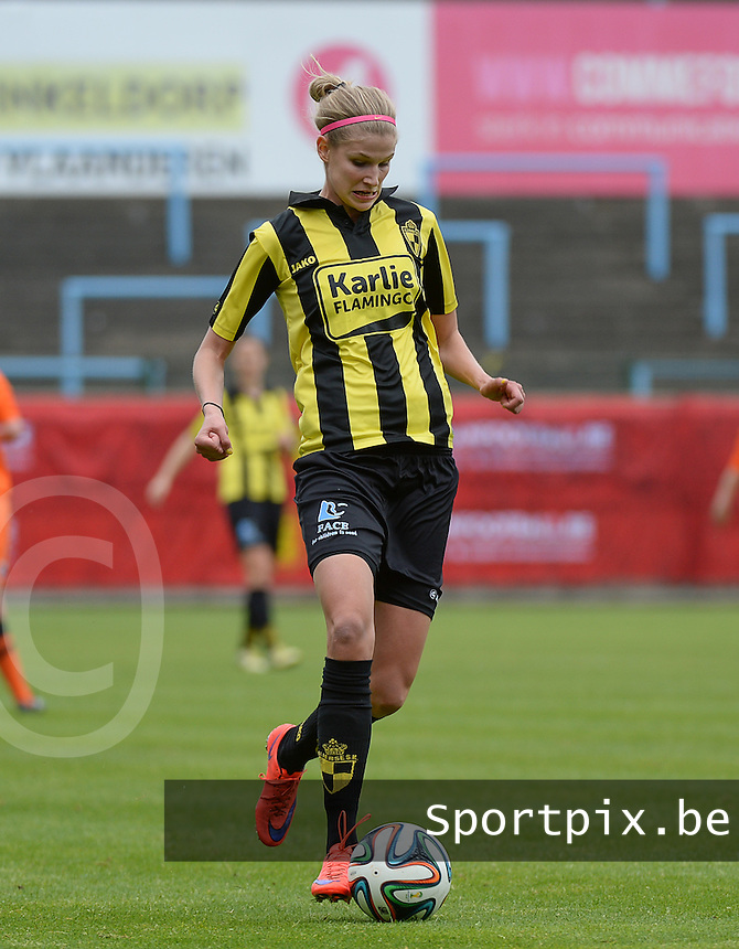 20150514 - BEVEREN , BELGIUM : Lierse's Justine Vanhaevermaet  pictured during the final of Belgian cup, a soccer women game between SK Lierse Dames and Club Brugge Vrouwen , in stadion Freethiel Beveren , Thursday 14 th May 2015 . PHOTO DAVID CATRY