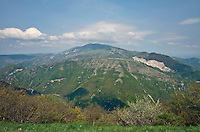 Monte Nerone with its anticlinal fold viewed from Monte Petrano, in the Central Apennines near Calgi, Le Marche, Italy, AGPix_1887