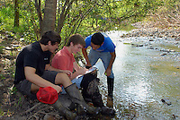 Advanced Placement High school Environmental Science students conducting filed research on a nearby creek.  Testing includes chemistry, biology and geology aspects of the creek...