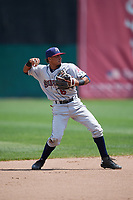 Mahoning Valley Scrappers shortstop Elvis Perez (6) warmup throw to first base during the first game of a doubleheader against the Auburn Doubledays on July 2, 2017 at Falcon Park in Auburn, New York.  Mahoning Valley defeated Auburn 3-0.  (Mike Janes/Four Seam Images)