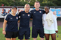 Piscataway, NJ - Saturday Aug. 27, 2016: Maria Dorris, Paul Grieg, Christy Holly, Danesha Adams prior to a regular season National Women's Soccer League (NWSL) match between Sky Blue FC and the Chicago Red Stars at Yurcak Field.