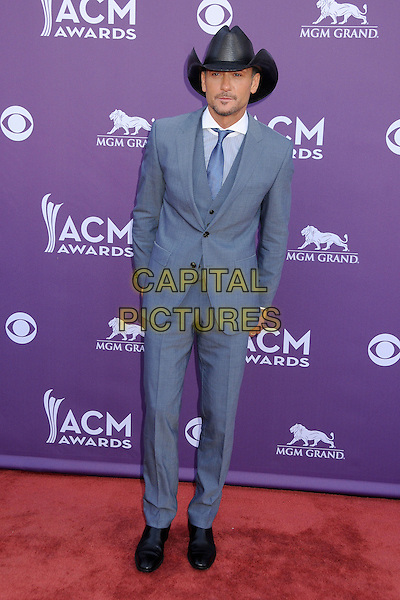Tim McGraw.48th Annual Academy of Country Music Awards - Arrivals held at the MGM Grand Garden Arena, Las Vegas, California, USA..April 7th, 2013.full length black hat blue grey gray suit.CAP/ADM/BP.©Byron Purvis/AdMedia/Capital Pictures.